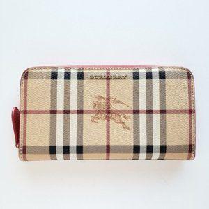 Burberry Vintage Check Ziparound Wallet Beige/Red